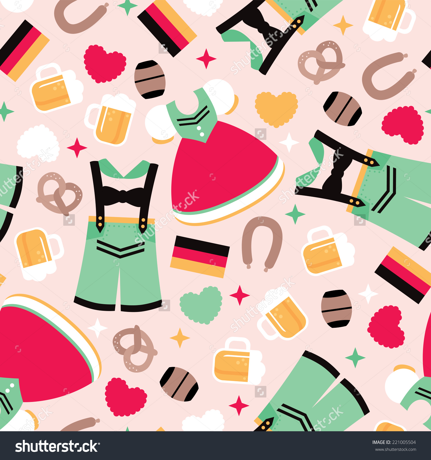 Seamless German Traditional Clothes Oktoberfest Icons Stock Vector.