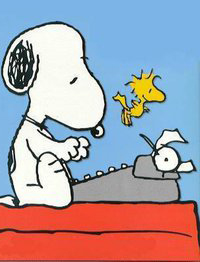 Snoopy typing clipart.