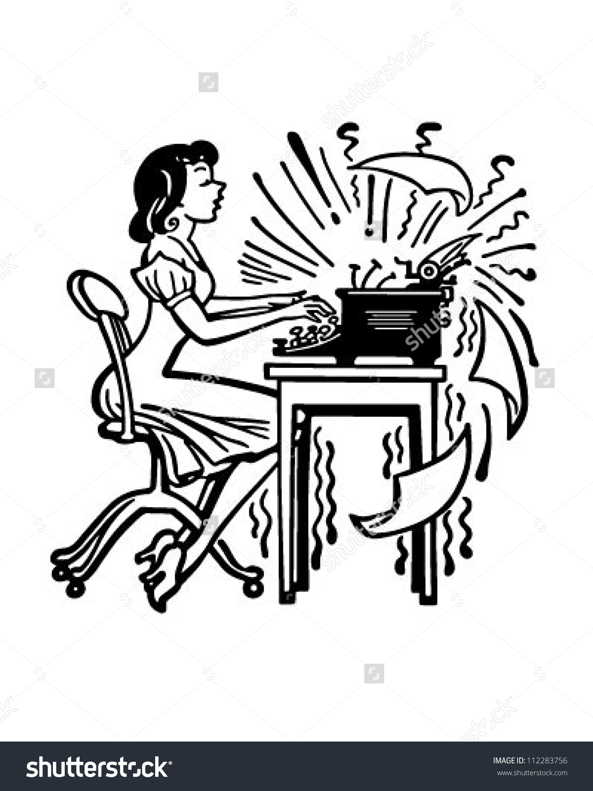 Woman Typing Madly Retro Clipart Illustration Stock Vector.