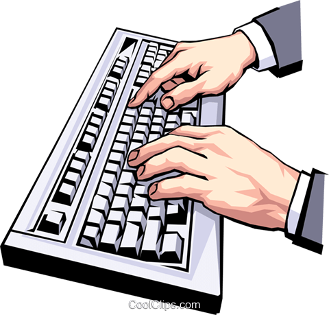 Computer typing clipart.