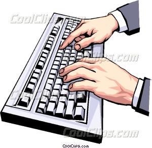 Hands typing at keyboard Vector Clip art.