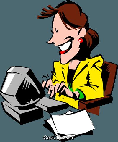 Cartoon woman typing at computer Royalty Free Vector Clip Art.