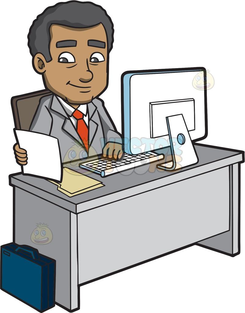 A Mature Businessman Typing Notes Using A Computer Cartoon Clipart.