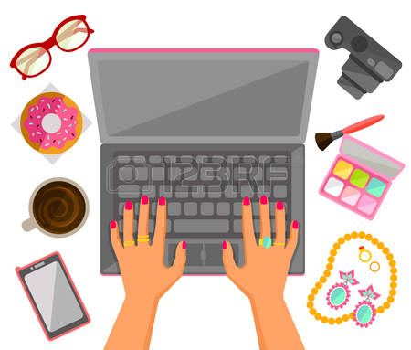 6,724 Typing Laptop Stock Vector Illustration And Royalty Free.