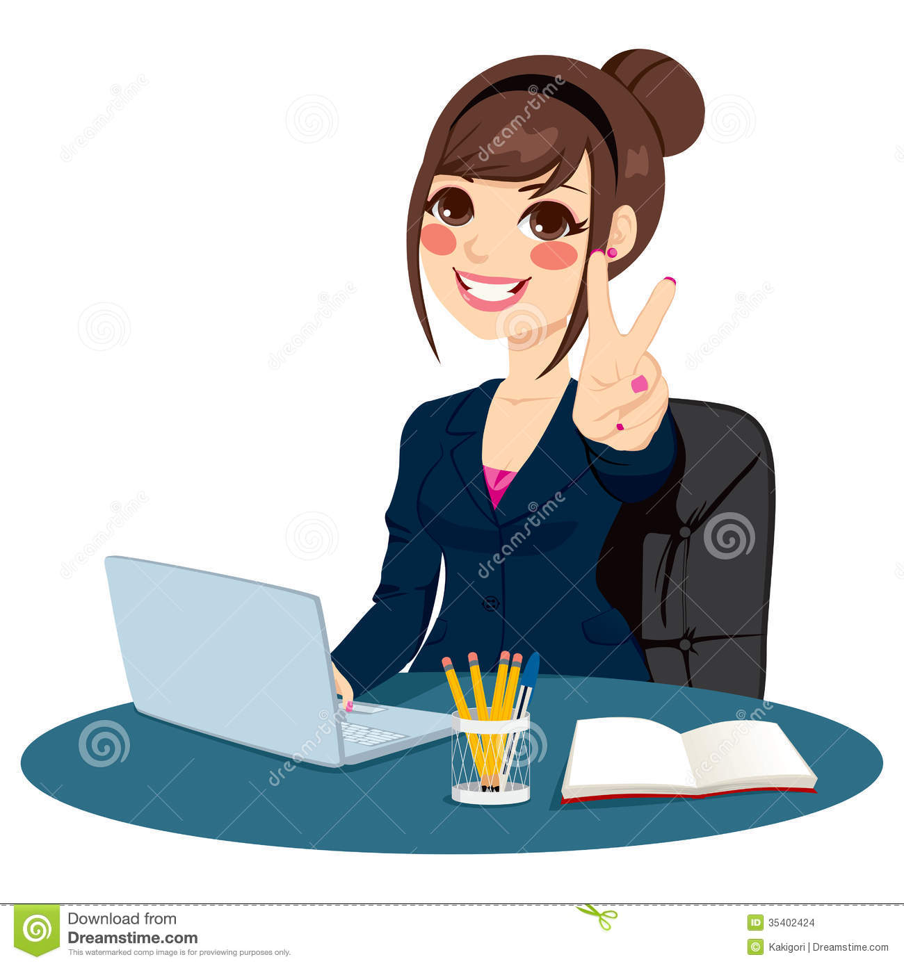 Victory Sign Businesswoman Stock Images.