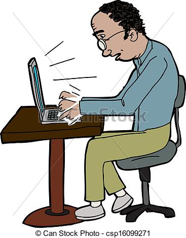 Clip Art Vector of Hand typing on laptop.