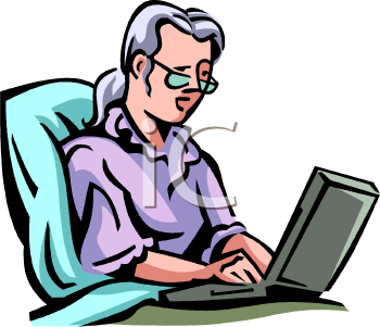Clip Art of a Business Woman Typing On a Laptop.