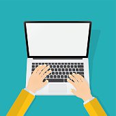 Typing on Laptop Clip Art, Vector Typing on Laptop.