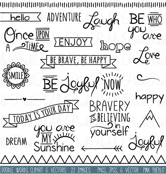 Doodle Words Clipart Clip Art Typography Word Subway by PinkPueblo.