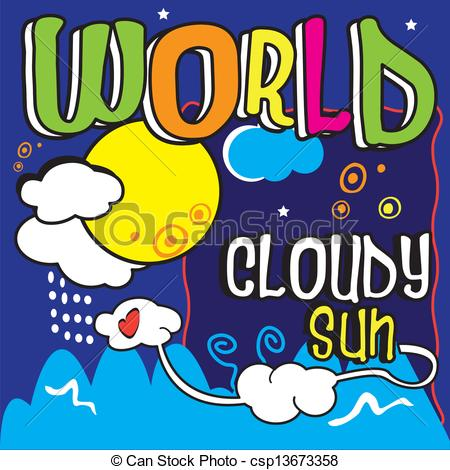 Clipart Vector of World, typo, whim, innocent, sky,.
