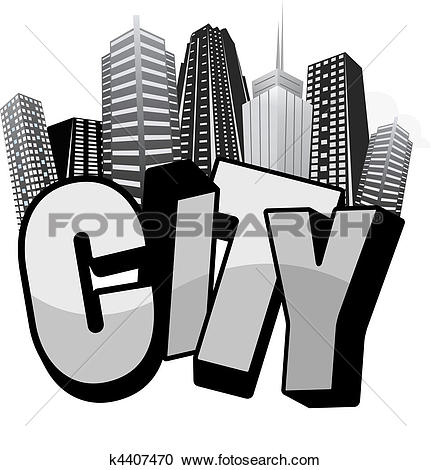 Clipart of city typo k4407470.