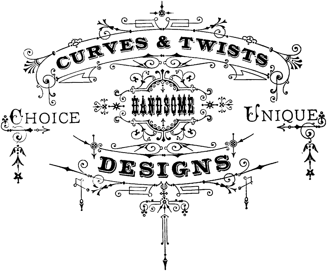 Vintage Typography Ornaments Clip Art.