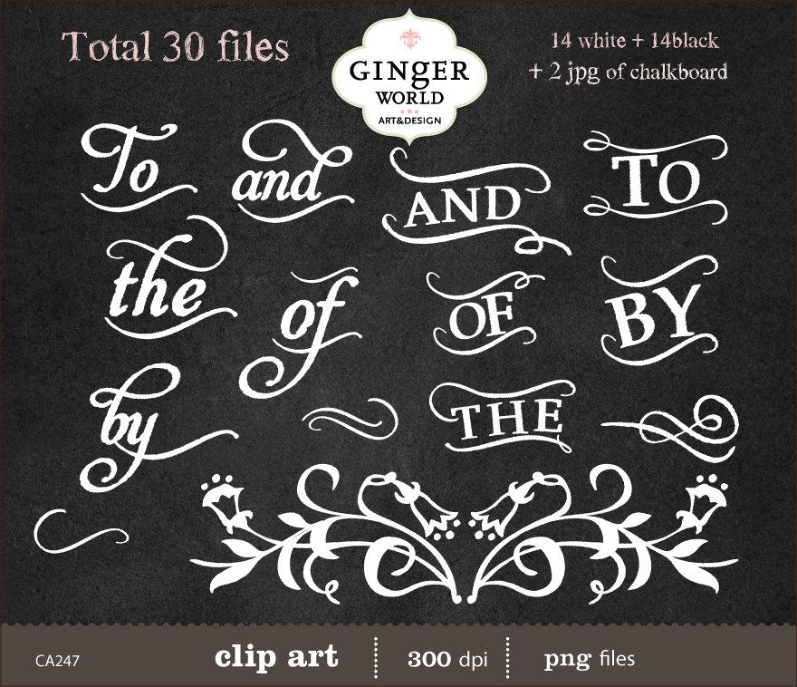 Chalkboard Wedding Typography Clip art clipart digital.