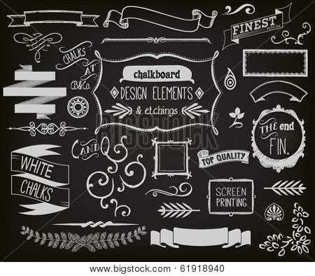 Chalkboard Design Elements and Etchings.
