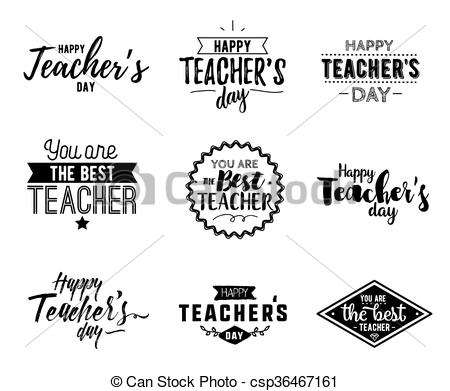 Clipart Vector of Happy teachers day vector typography..