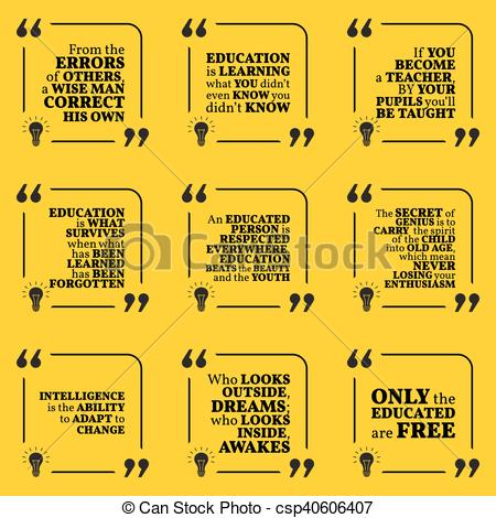 Vector Clipart of Set of motivational quotes about intelligence.