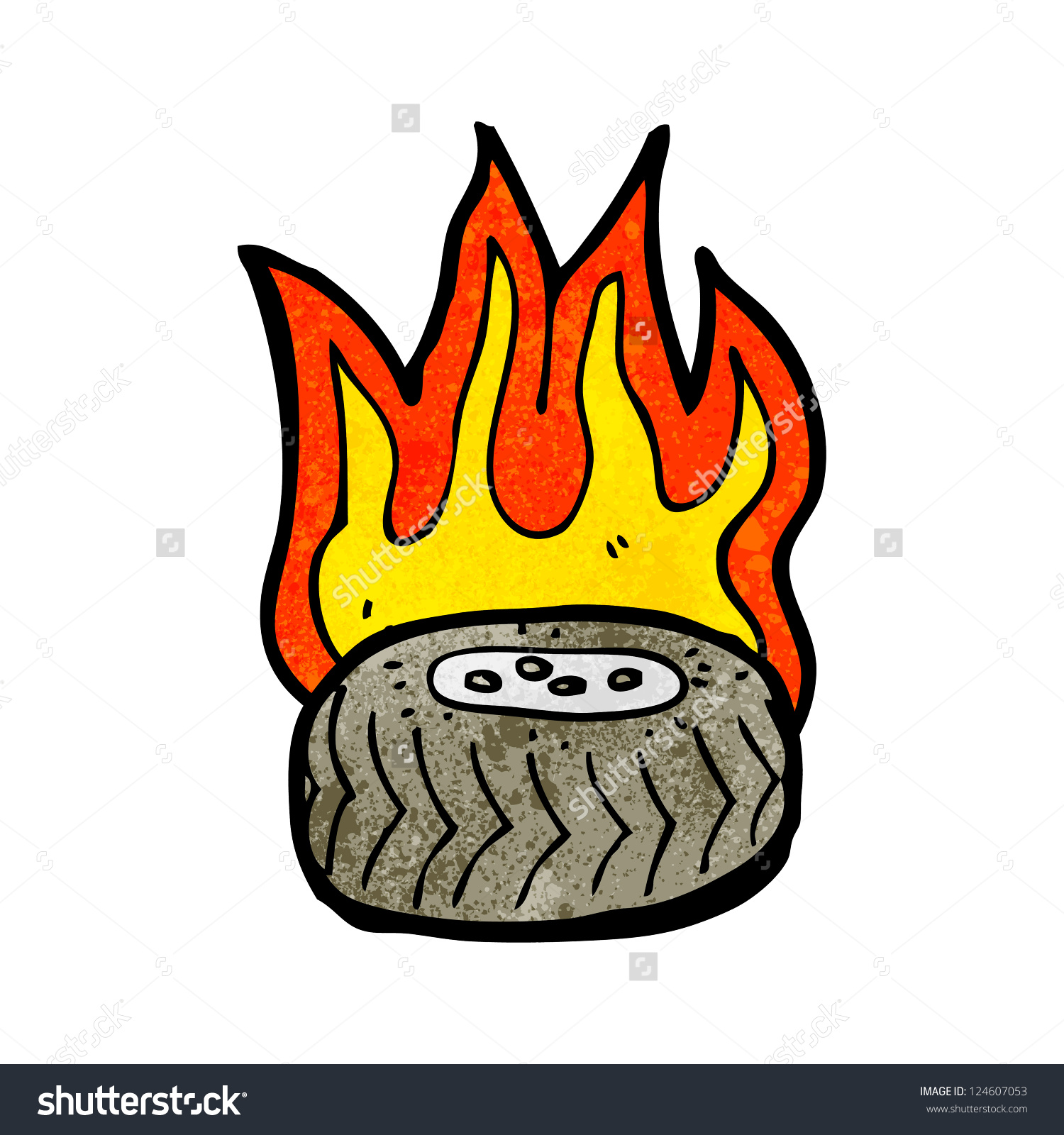 Cartoon Tire On Fire Stock Vector 124607053.
