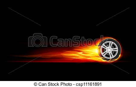 Burning tire clipart.