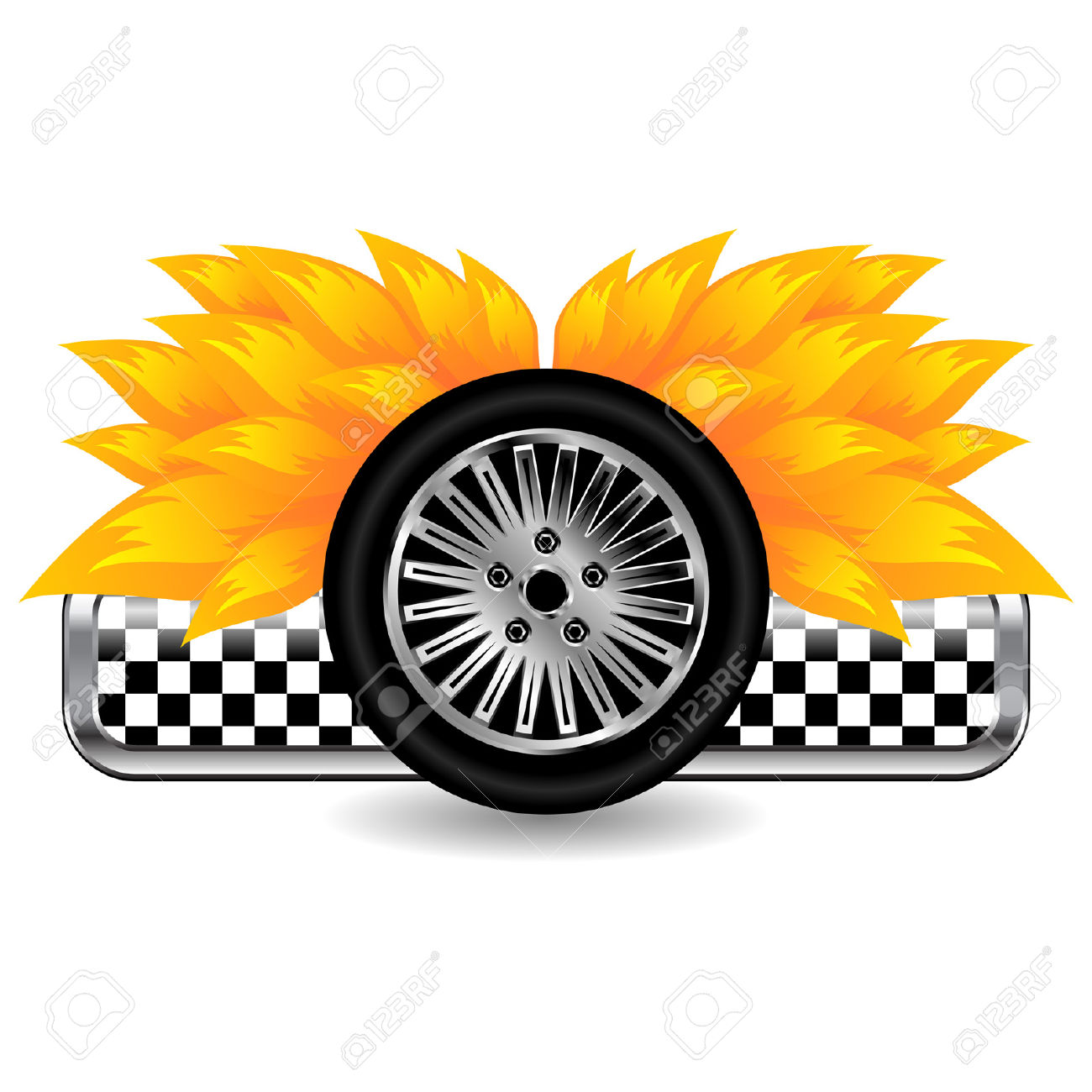 Race Tyre On Fire Isolated Over White Background Royalty Free.