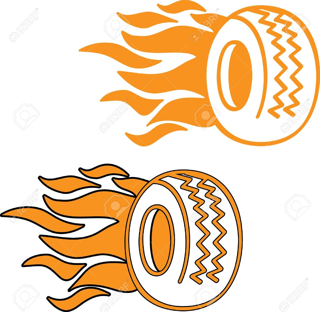 Flaming Tyre Logo Or Icon Royalty Free Cliparts, Vectors, And.
