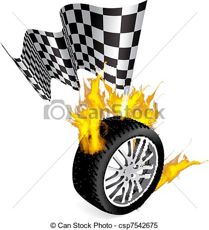 Clipart Vector of Tire Fire.
