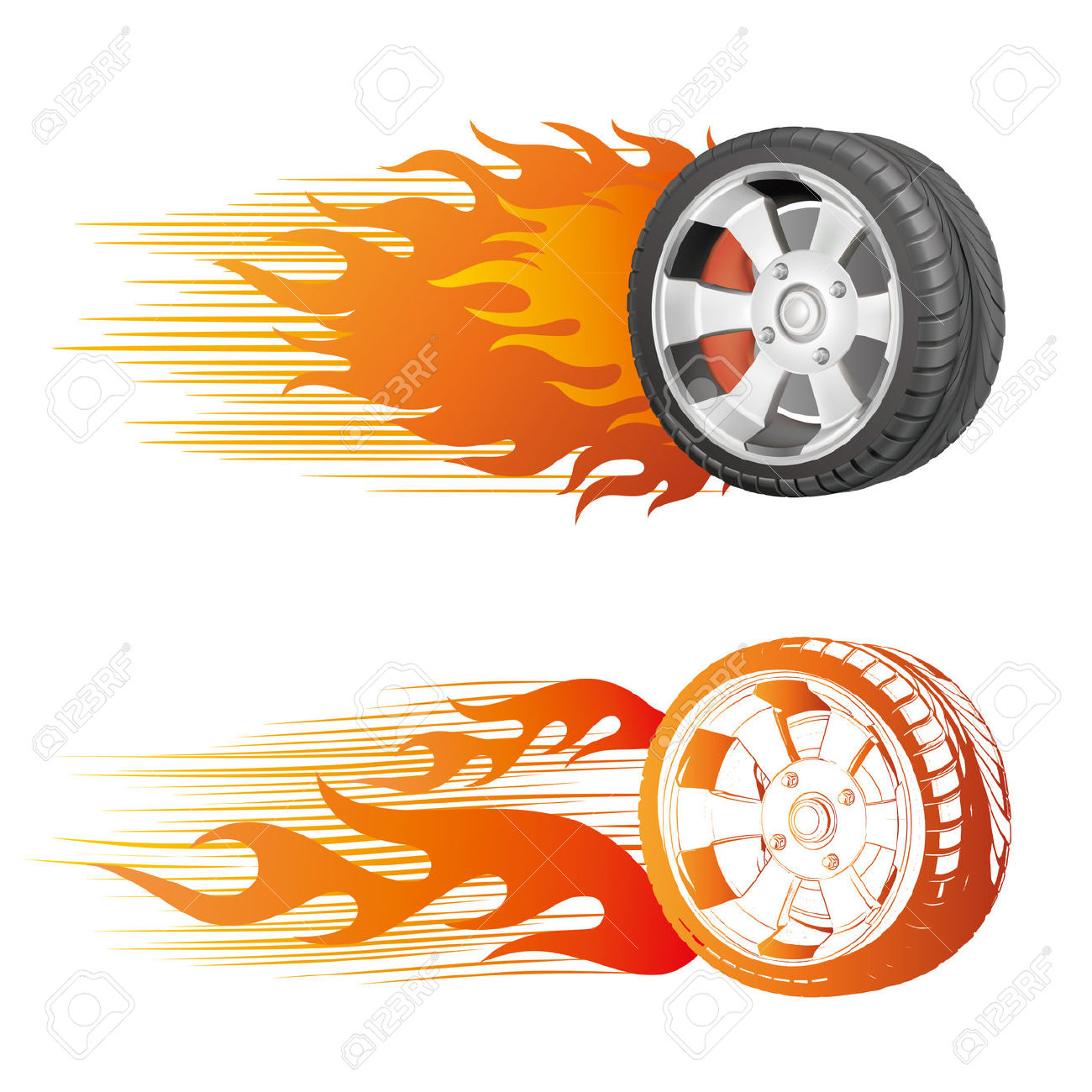 Fiery Racing Tire Royalty Free Cliparts, Vectors, And Stock.