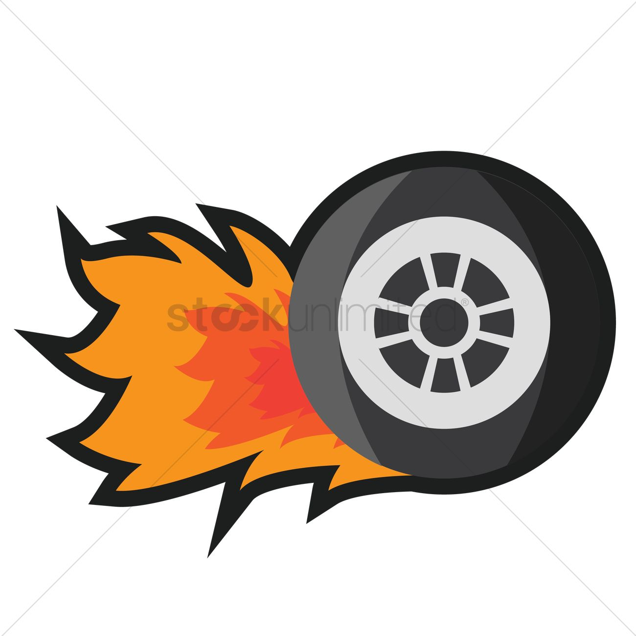 Tyre on fire Vector Image.
