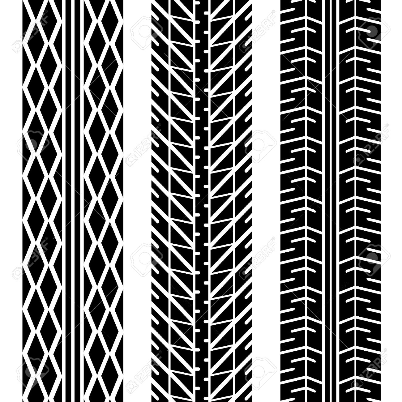 Three Different Tire Tread Patterns In Black And White Royalty.