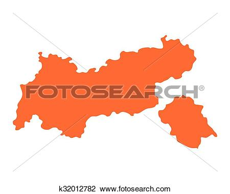 Clipart of Map of Tyrol k32012782.