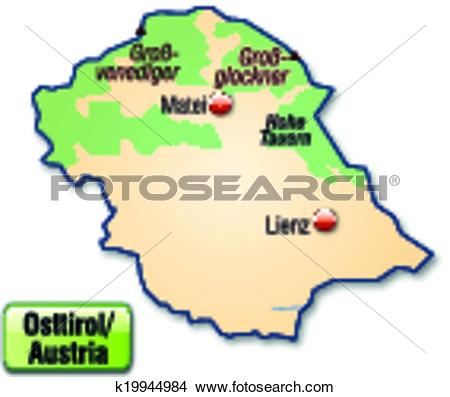 Clipart of Map of East Tyrol k19944984.
