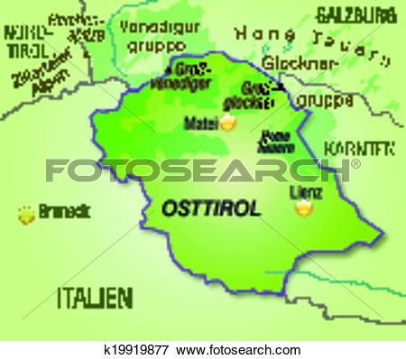 Clip Art of Map of East Tyrol k19919877.