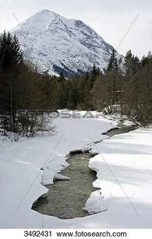 Stock Photography of Frozen mountain stream (Leutascher Ache.