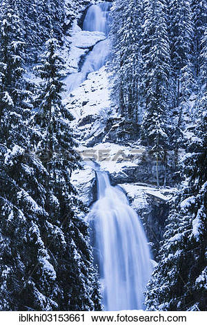 "Stock Photography of ""Krimml Waterfalls in winter, Krimml, Tyrol."
