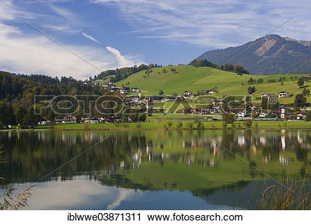 """Stock Photography of """"Thiersee, Vorderthiersee, Tyrol, Austria."""