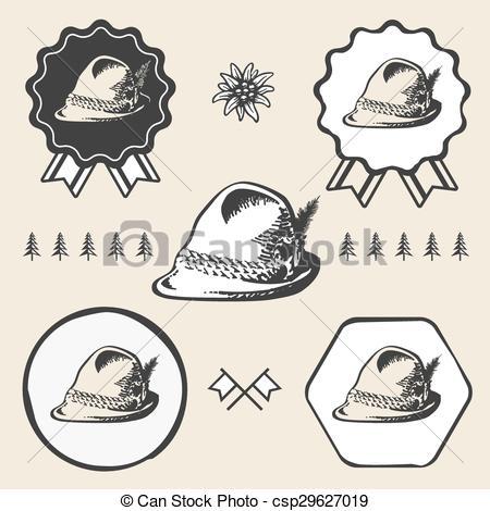 Vector Clip Art of Bavarian alpine oktoberfest vintage tyrolean.