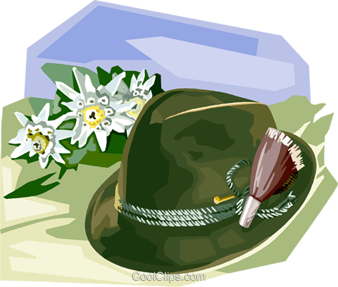 Tyrolean Hat with Edelweiss flowers Royalty Free Vector Clip Art.