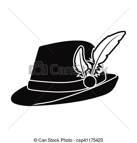 Vector Illustration of Tyrolean hat icon in black style isolated.