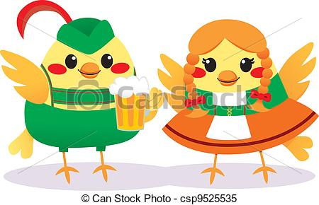 Clipart Vector of Traditional Tyrolean Birds.