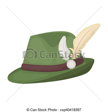 EPS Vectors of Tyrolean hat icon in cartoon style isolated on.