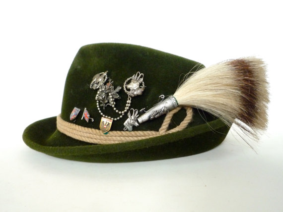 Tyrolean Hat With Pins Brush Pin Fritz Gunzrodt by CrolAndCo.