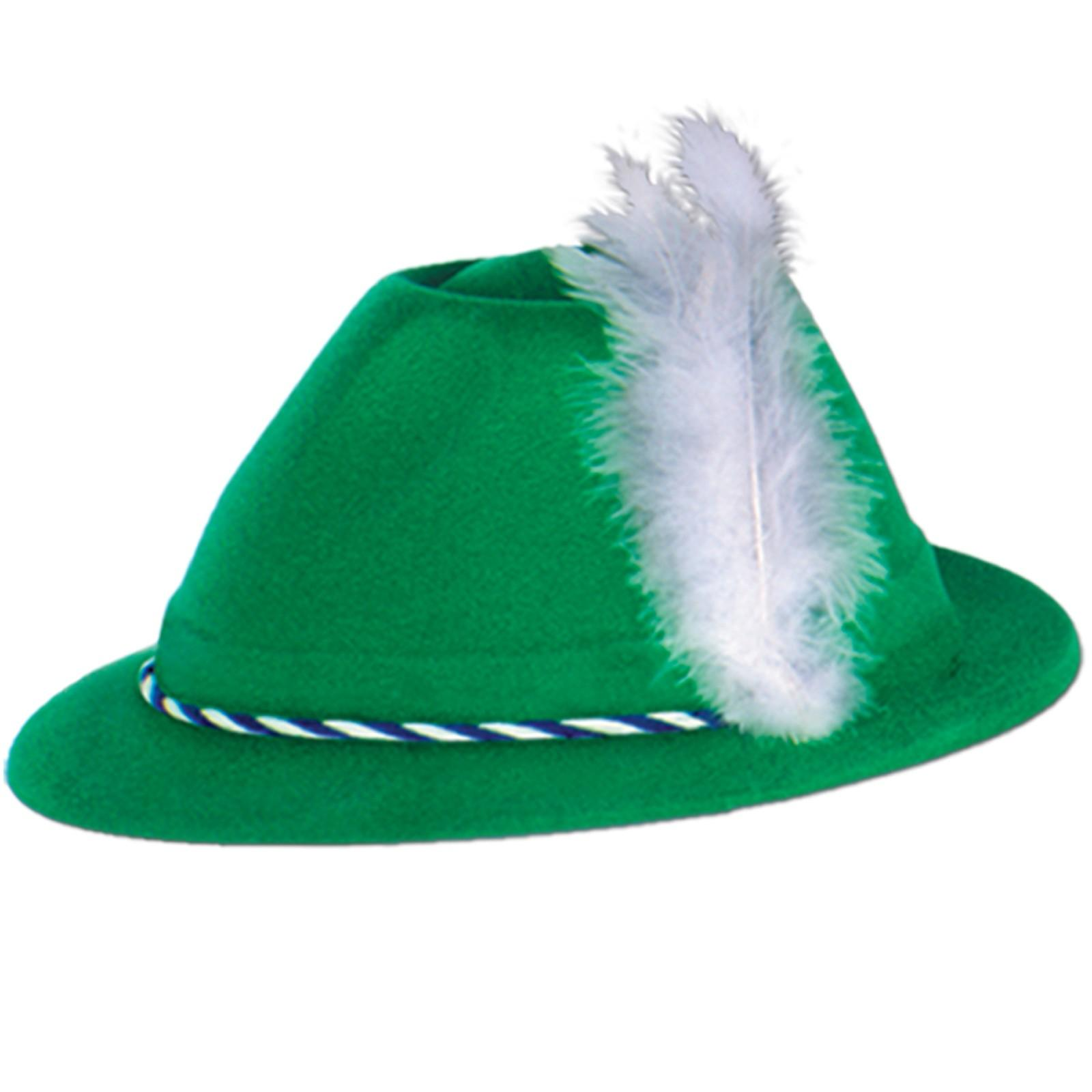 Oktoberfest Green Velour Tyrolean Hat Adult.