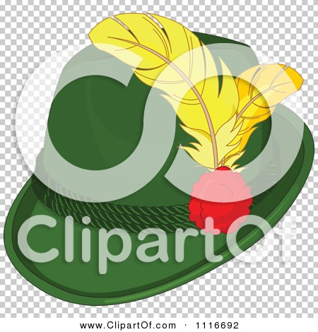 Vector Clipart Of A Green Bavarian Tyrolean Fedora Hat With.