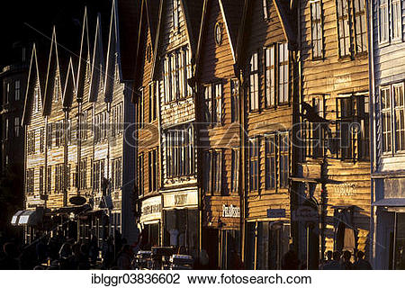 "Stock Photo of ""Row of houses, Tyske Bryggen in the evening light."
