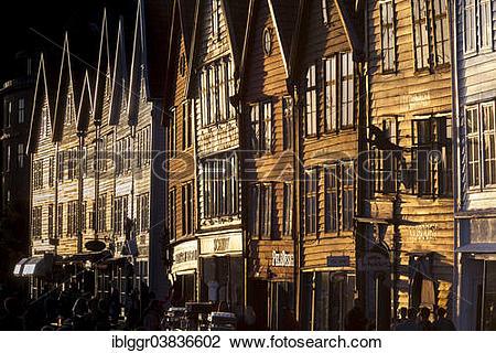 "Stock Photo of ""Row of houses, Tyske Bryggen in the evening light."