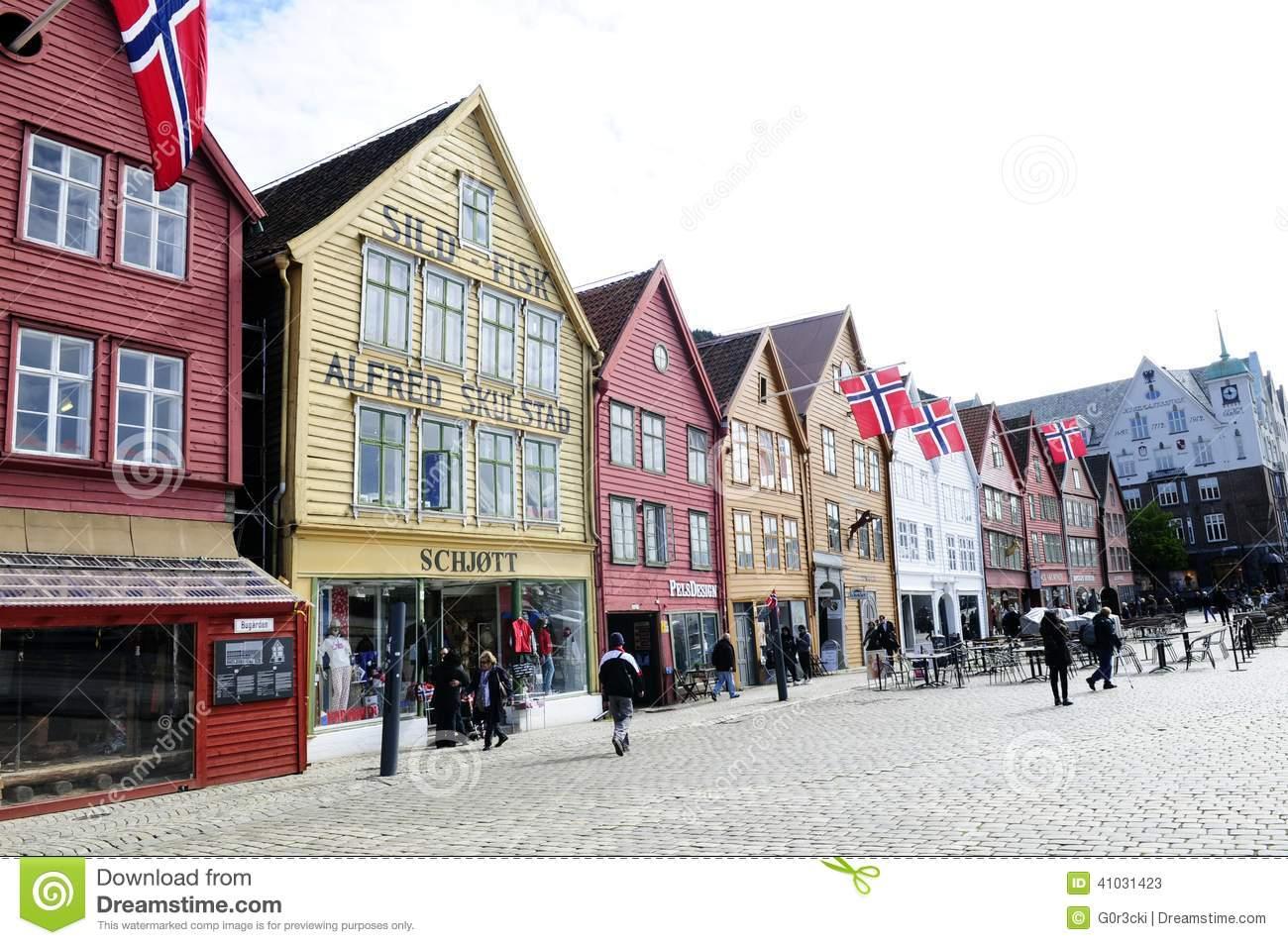Bryggen Historical Buildings @ Bergen, Norway Editorial Stock.