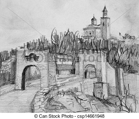 Drawing of Pencil Drawing of Fortress Tsarevets in Veliko Tarnovo.