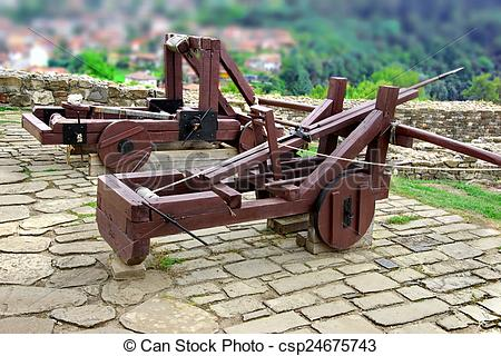 Stock Photo of Old Crossbow and catapult in Tsarevets fortress.