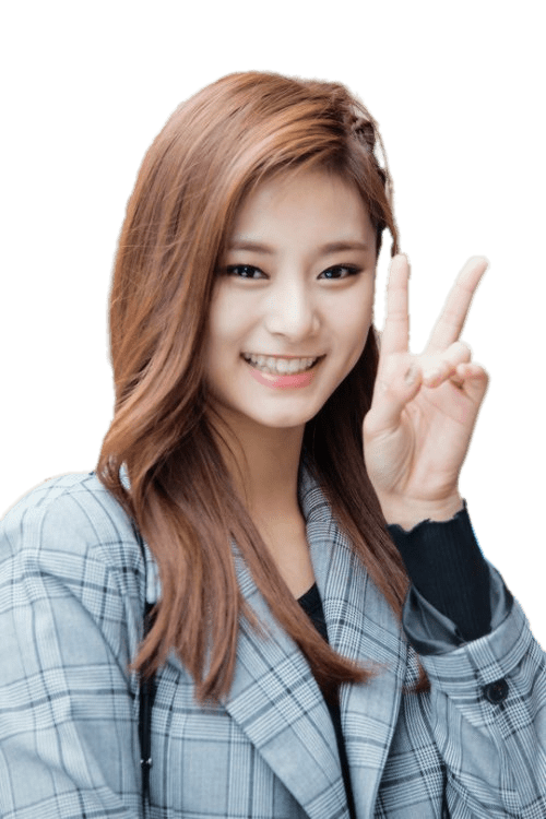 Twice Tzuyu Peace Sign transparent PNG.