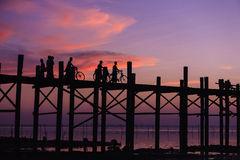 U Bein Bridge Silhouette, Myanmar Stock Photos.