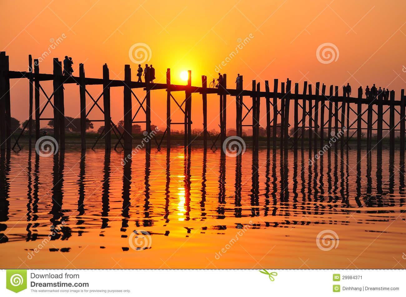 U Bein Bridge (Myanmar, Burma) In Sunset Stock Image.